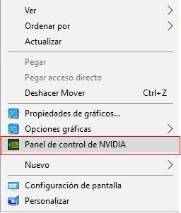 panel de controlde Nvidia